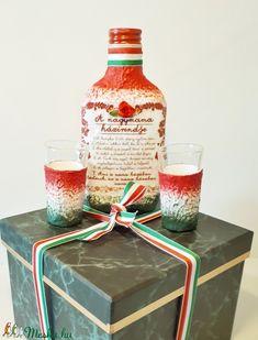 950ce46520 A nagymama házirendje, magyaros dísz-és használati lapos üveg+pohár  hagyományokat, népművészetet