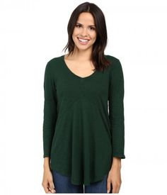 Mod-o-doc - Slub Jersey 3/4 Sleeve V-Neck Tunic (Cypress) Women's Long Sleeve Pullover