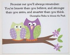 Children's Wall Art, Baby Girl Nursery Room Decor, Kids Wall Art, Owls, Winnie The Pooh Quote, Promise Me You'll Always Remember, 8x10 Print. $14.00, via Etsy.