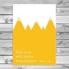 Best Film Posters : Kinderkamer Poster Babykamer Decoratie Kid You Will Move Mountains Geel Kids Poster, A4 Poster, Inspirations Magazine, Move Mountains, Kidsroom, Nursery Art, Little Boys, Babyshower, Cinema