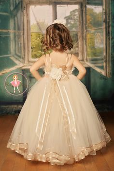 """One-of-a-kind custom made couture flower girl tutu dress - your choice of colors. Taupe and ivory, organza ribbon trimmed skirt, rosette bodice, bows and cute accents on the back. """"Jacqueline"""" dress in taupe and ivory with organza ribbon trim"""
