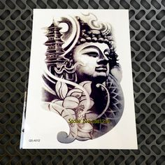 1PC 3D large waterproof temporary tattoos For Men Women Buddhist GQS-A012 15*21CM big tattoo Pastes paper buddha Lotus #Affiliate