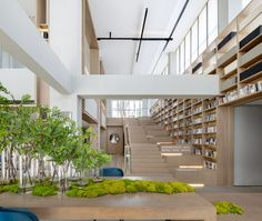 The show gallery in Wuhan China, design by G&K Design. Public Library Design, Public Space Design, Hall Interior Design, Lobby Interior, Library Architecture, Architecture Design, Commercial Design, Commercial Interiors, Hotel Lobby Design