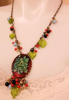 Fairy Cameo Necklace Reds Blues Greens by bsueboutiquesjewelry, $34.00