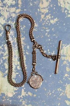 Antique Simmons Gold Filled Watch Chain with Round Locket Fob | eBay