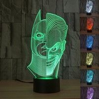 Wish | Creative 3D illusion Lamp LED Night Light 3D Two-Face Acrylic Discoloration Colorful Gradient Atmosphere Lamp Novelty Lighting (Size: Pack of 1)