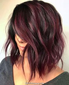 34 Latest Hair Color Ideas for 2019 - Get Your Hairstyle Inspiration for Next Se. - 34 Latest Hair Color Ideas for 2019 – Get Your Hairstyle Inspiration for Next Season – Latest H - Hair Color Shades, Hair Color Purple, Fall Hair Colors, Brown Hair Colors, Brown Hair With Purple Highlights, Red Hair For Cool Skin Tones, Black Cherry Hair Color, Purple Brown Hair, Subtle Hair Color