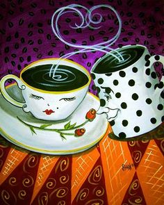 Java Lovers two coffee cups heart Whimsical Art от Coffee Talk, Coffee Girl, I Love Coffee, Coffee Break, Best Coffee, My Coffee, Coffee Shop, Coffee Cups, Coffee Lovers