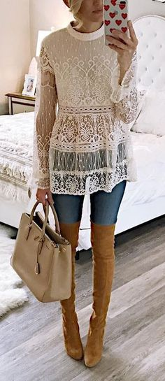 How to Wear: The Best Casual Outfit Ideas - Fashion Lace Top Outfits, Fall Outfits, Casual Outfits, Boho Spring Outfits, Look Fashion, Fashion Outfits, Womens Fashion, Lingerie Look, Winter Mode