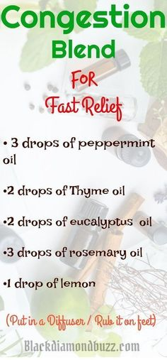 Essential Oil Congestion,sinus and cold Blend Diffuser Recipe. 3 drops of peppermint essential oil 2 drops of Thyme essential oil 2 drops of eucalyptus essential oil 3 drops of rosemary essential oil 1 drop of lemon #essentialoil #essentialoilblends