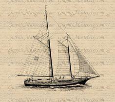 Sailing Ship Graphics Digital Collage Sheet Image Iron On Transfer Fabric Burlap FeedSack Pillows Tea Towels Tote Bags a159