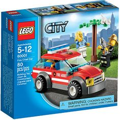 LEGO City Fire Chief Car Help save the day. When the cat gets stuck in the buildable tree, rush the fire chief to the scene in his cool Fire Chief Car to lure the cat down with a tasty fish. The fire chief is always ready to . Lego City Fire, Lego Fire, Lego City Police, Best Lego Sets, Lego Truck, Lego City Sets, Black Friday Specials, Lego Minecraft, Lego Lego