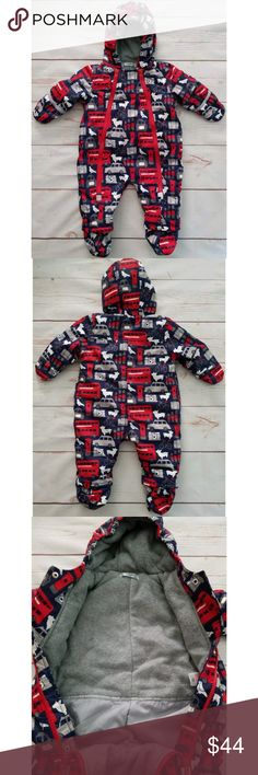 Baby Boden Infant Boys Snowsuit Size 3-6 Mos Baby Boden Infant Boys Snowsuit   Size 3-6 Months  Red, White, Blue & Gray  Insulated  Soft Fleece Lining  Attached Hood  Booties Snap On & Off  Sleeve Cuffs Fold Over For Mittens  Excellent Used Condition  No visible tears, rips or stains Boden One Pieces Bodysuits