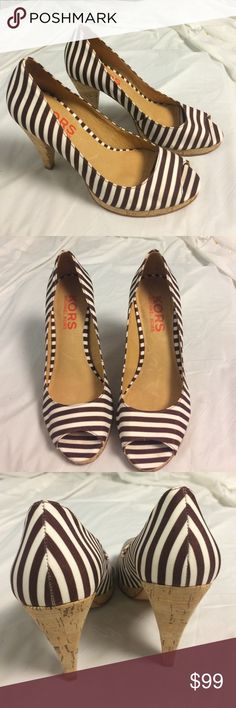 NEW Michael Kors brown white striped cork pumps As a new pair of Michael Kors brown and white striped peep toe platform cork heels.  New without box. Platform measures about an half an inch. Heel is about 3 inches.  Please let me know if you have any questions. KORS Michael Kors Shoes Platforms