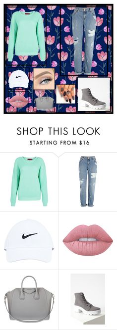 """""""Untitled"""" by killerbarbiexoxo-123 on Polyvore featuring River Island, NIKE, Lime Crime, Givenchy and Forever 21"""