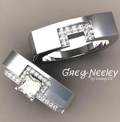 Brilliant Luxury by Emmy DE * Greg Neeley Square Wrap Wedding Set