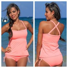 64c81a7493c Womens Coral Tankini Swimsuit Top with Adjustable Coral Bikini Swimsuit  Bottoms - Available in Regular and Plus Sizes - Sunnyside Swimwear