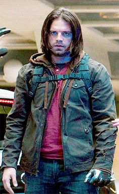 Captain America Civil War (Marvel): Bucky Barnes, all black tactical wear was so last season now it all about dressing in layers and Carrying a Back Pack