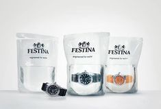 Doesn't it look like fish balls ? nearly...Its the primary pack of a Festina new collection of watchs and not the less innovative. For a brand of this grade its unusual to present its product like that but the interest is to demonstrate that the watch is really waterproof because its dived into a transparent water-filled bag. Ingenious, simply well thought and impressive. The originality is in the technic used to present the product and the visual impact it operates.
