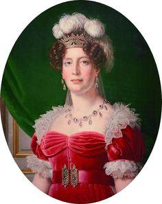 Maria Teresa, ou, Madame Royale, era a primogênita do rei Luís XVI e da rainha Maria Antonieta. Ela nasceu em 1778 e morreu em 1851. Após a morte dos pais, ela fora libertada, entre um acordo entre Áustria e França, aos 19 anos. No exílio, casou-se com o primo, o duque d'Angoulême. Alguns histotiadores dizem que ela foi, durante 20minutos, Rainha-consorte de França e Navarra, período entre a abdicação de seu sogro, Carlos X e aabdicação de seu marido, cujo título de Luís XIX é contestado.jpg