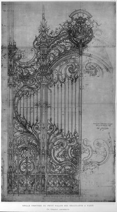 Architectural drawing - Girault's design for the cast iron door of the Petit Palais, Paris. A well done architectural drawing is very much a piece of art. Love looking at the masters working drawings. Art And Architecture, Architecture Details, Architecture Tattoo, Art Nouveau Architecture, Ancient Architecture, Inspiration Art, Creative Inspiration, Iron Doors, Iron Gates
