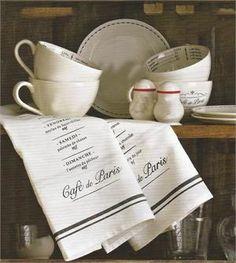 Cafe de Paris Tea Towels from farmhousewares.com. Needed for the kitchen!