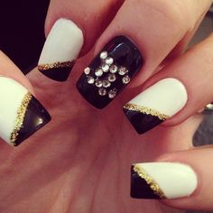 Black and white nails.