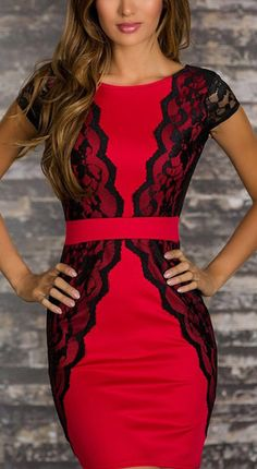 Red and black lace dress // stunning