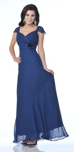 Off The Shoulder Cap Sleeve Navy Blue Chiffon Long Semi Formal Dress $96.99