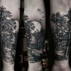 45 inspirational forest tattoo ideas night skies. Black Bedroom Furniture Sets. Home Design Ideas