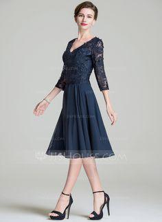 A-Linie Princess-Linie V-Ausschnitt Knielang Chiffon Spitze Kleid für die  Brautmutter (008072689) 12c5648045