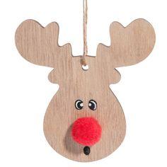 Houten kerstdecoratie eland met pompon H 18 cm   - Verkocht per 2