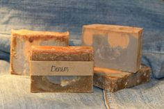 Natural soaps by Jessica  Denim $5   This has a masculine scent and lathers up nicely.  This soap was made to add to my men's line of soap. However, this has gone over so well, I am selling it to women as well! Natural Soaps, Place Card Holders, Denim, Women, Women's, Jeans Pants, Jeans