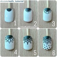 Make up secrets / Make-up Tutorials / Makeup ideas Nail Art Hacks, Nail Art Diy, Easy Nail Art, Diy Nails, Henna Nails, Lace Nails, Flower Nails, Nail Art Designs Videos, Diy Nail Designs