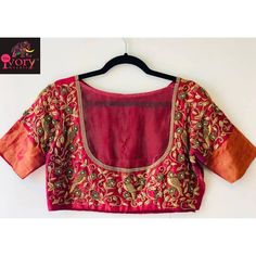 A beautiful wine coloured blouse with intricate embroidery is a must have! Swipe right to see the full image of the blouse Advance happy Diwali to all of you ! To customise and place orders call/ whatsapp us on 9600639563 / 9994996000 or dm 💝💞🌷🌹 ————— Ethnic Fashion, Indian Fashion, Kids Lehenga, New Blouse Designs, Bridal Lehenga, Designer Wear, Floral Tops, Stitching, Kids Outfits
