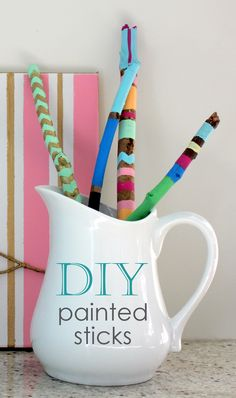 painted sticks and other summer crafts