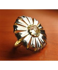 Micron Gold Plated, 925 Sterling Silver Ring Studded With Citrine