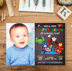 Avengers Birthday Invitation, Boy Birthday Photo Invitation, Superhero Birthday Invite, Captain America, Flash, Thor, Printable Digital File by ZPartyDesigns on Etsy https://www.etsy.com/listing/235890882/avengers-birthday-invitation-boy