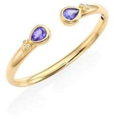 Temple St. Clair Bella Diamond, Tanzanite & 18K Yellow Gold Bangle Bracelet. Diamond Jewelry. I'm an affiliate marketer. When you click on a link or buy from the retailer, I earn a commission.