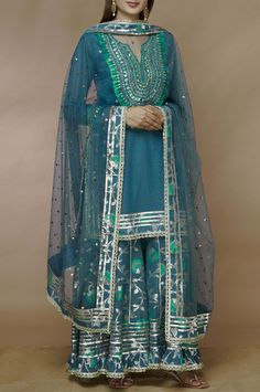 Buy Embellished Kurta Sharara Set by Gopi Vaid at Aza Fashions Pakistani Fashion Casual, Pakistani Dress Design, Pakistani Dresses, Indian Dresses, Indian Fashion, Pakistani Sharara, Shadi Dresses, Muslim Fashion, Womens Fashion