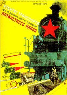 Gustav Klutsis (Russie) – Affiche 5e plan pour le transport (1929)
