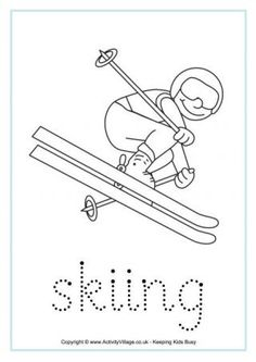 Winter Olympics - Coloring Worksheets with tracing & handwriting practice