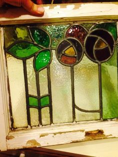 Antique English Leaded 13x12 Stained Glass Window Art Deco Design #EnglishMakers