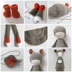 Crochet Patterns Needles Making Of Kira by lalylala shoes Crochet Patterns Amigurumi, Amigurumi Doll, Knitted Dolls, Crochet Dolls, Crochet For Kids, Diy Crochet, Crochet Animals, Doll Patterns, Crochet Projects