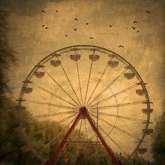 "Ferris Wheel Art ""Dark Ride"" Nature Photography,Carnival Art,Carnival Photo,Bird Photo,Rust Brown,Vintage Wall Decor 6x6 Ferris Wheel Print. $14.00, via Etsy."