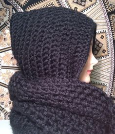Chunky Black Crocheted Hooded Infinity Scarf Scoodie on Etsy, $60.00