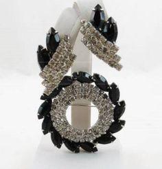 1930s1940s vintage black rhinestones white by SkyAccessoryBoutique, $89.00