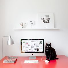 This is my happy place - workspace with black cat - Mint mouse -  www.mintmouse.com