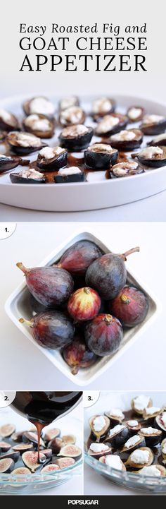 Appetizer That'll Make Dinner Party Guests Swoon Black Mission figs, balsamic vinegar, and fresh goat cheese star in this appetizer that only takes 20 minutes to make!The Dinner The Dinner may refer to: Goat Cheese Recipes, Fig Recipes, Cooking Recipes, Goat Cheese Appetizers, Tapas Recipes, Crab Recipes, Vegan Cheese, Party Recipes, Snacks Für Party