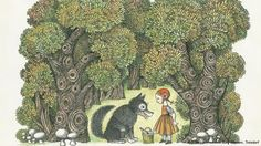 Illustrations by Eva Johanna Rubin can also be found in the Grimm exhibition in Troisdorf. Her 1969 portrayal of Little Red Riding Hood resembled those from the 1920s and 30s, with its clear lines, many details and conspicuously distinct colors. Her figures are very cute - even the Big Bad Wolf doesn't quite seem so bad anymore…